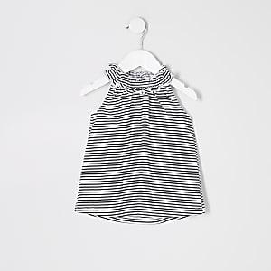 Top trapèze rayé noir mini fille