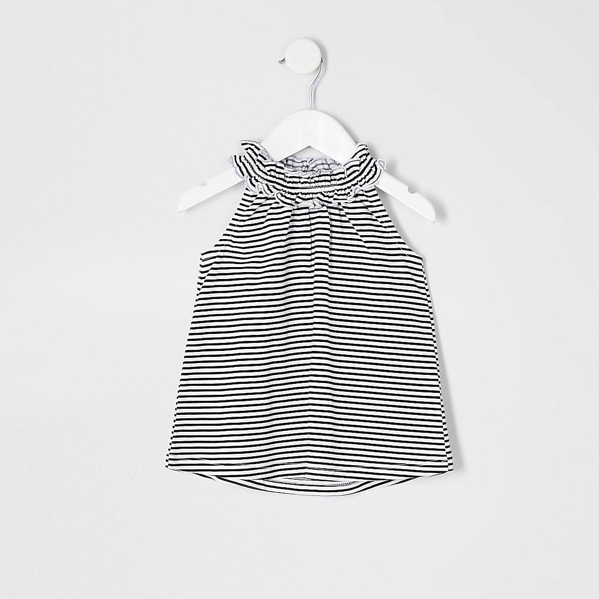 Mini girls black stripe trapeze top