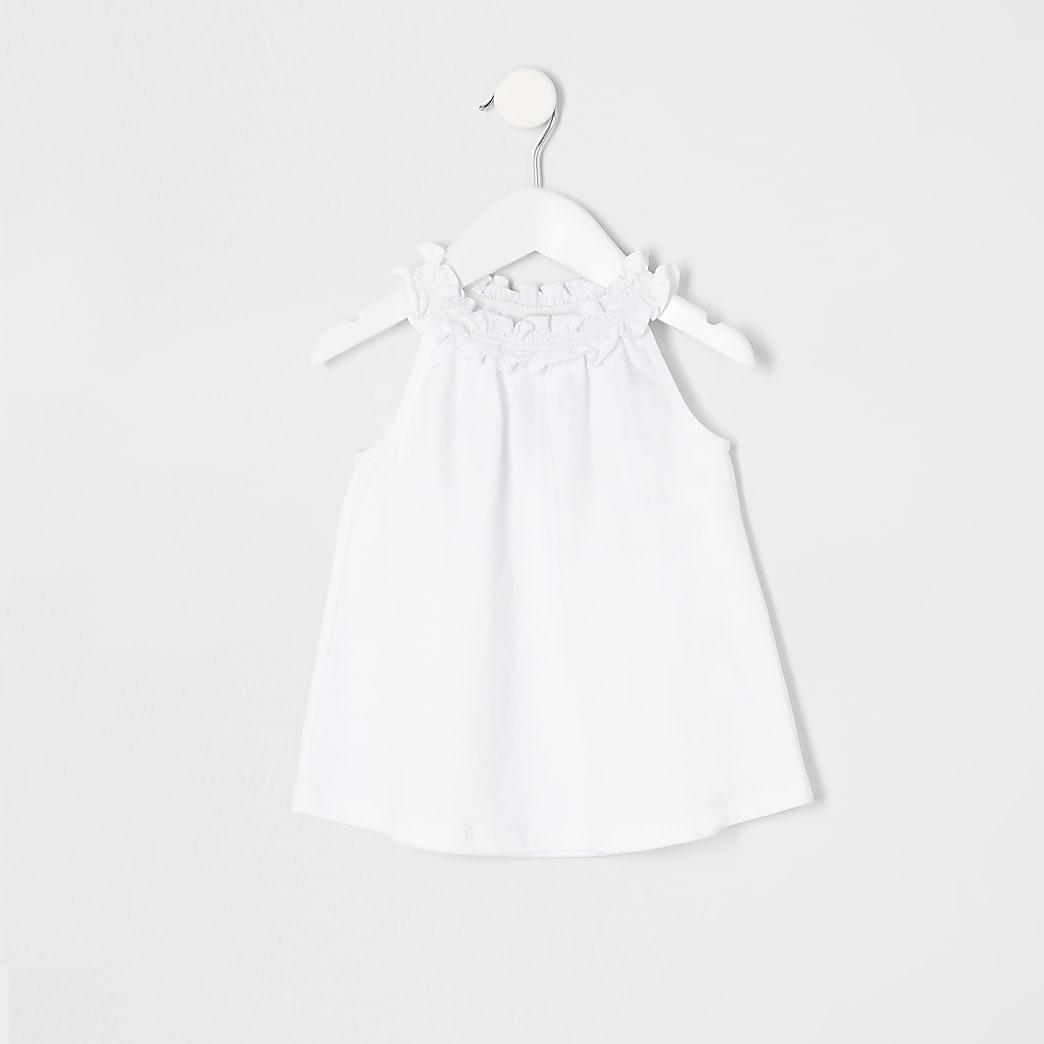 Mini girls white trapeze top