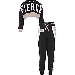 Girls RI Active black 'Fierce' hoodie outfit