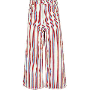 Girls red stripe wide leg jeans
