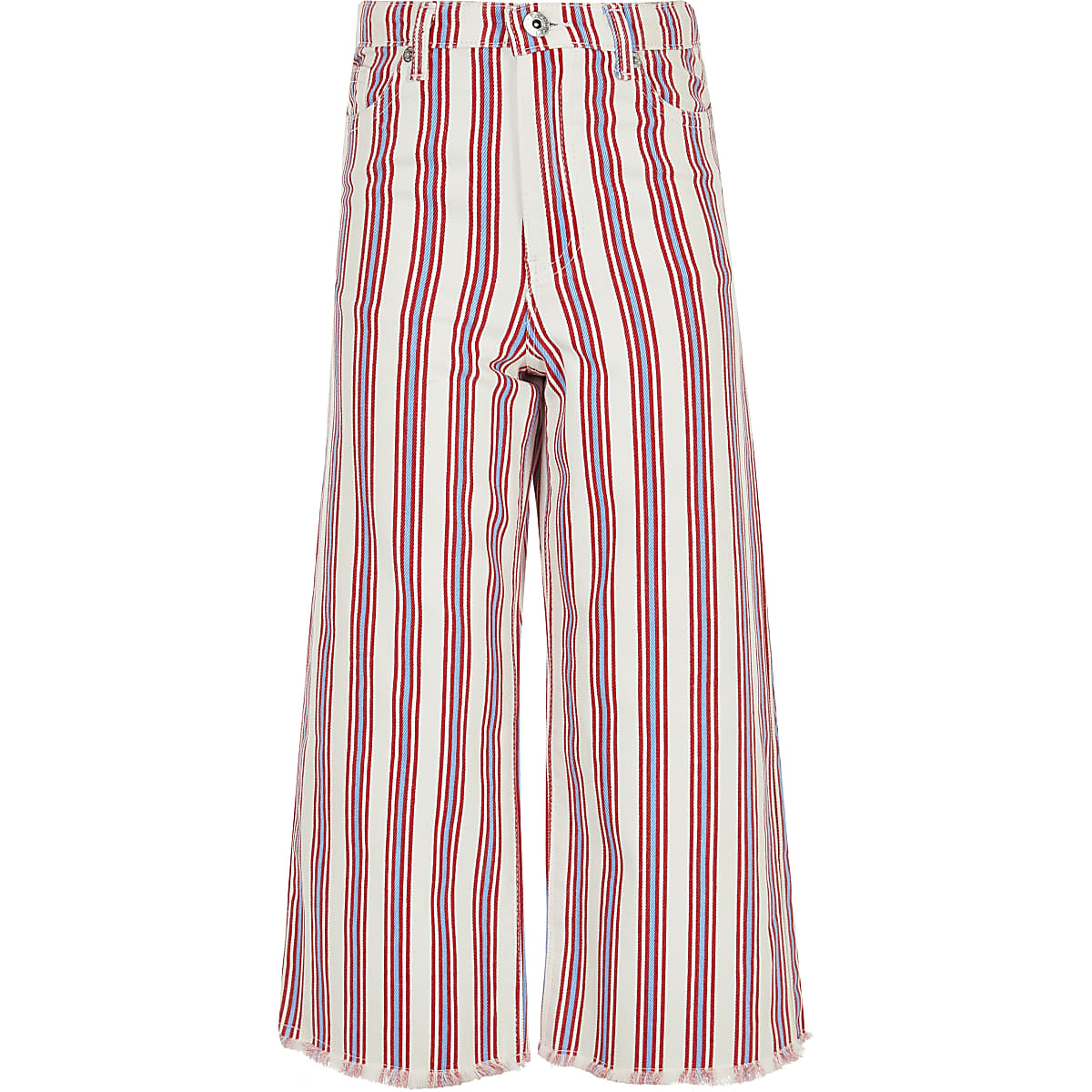 Girls red stripe wide cropped leg Alexa jeans