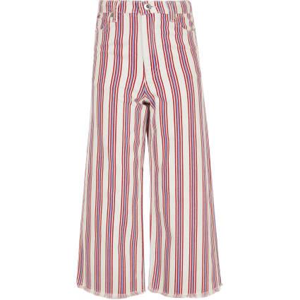 Girls red stripe wide cropped leg Alexa jeans