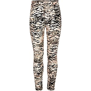 Molly – Pinke Jeggings mit Animal-Print