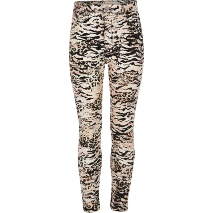 Girls pink animal print Molly jeggings