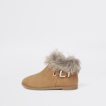 Mini girls tan faux fur trim buckle boots
