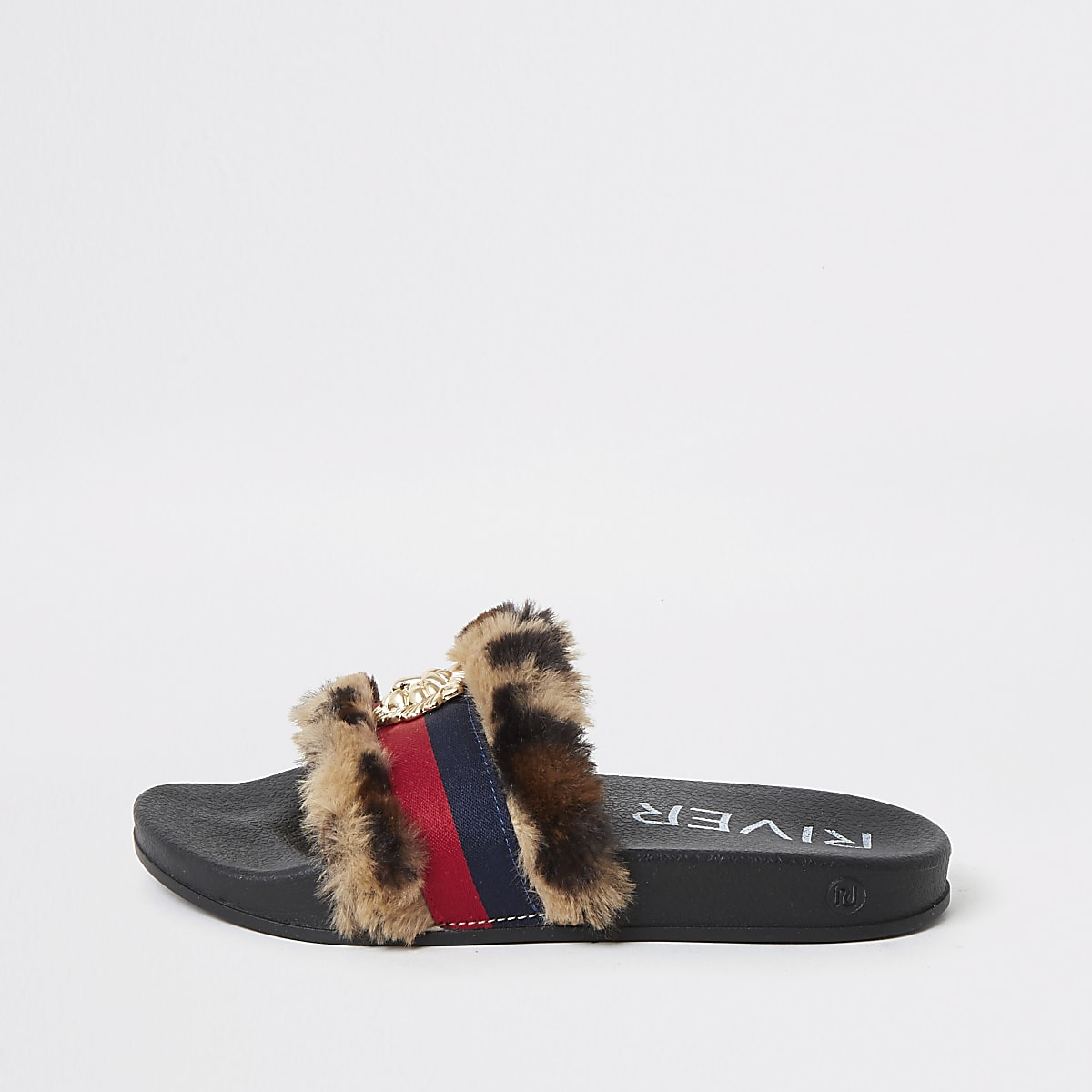 Girls brown leopard stripe fur slider
