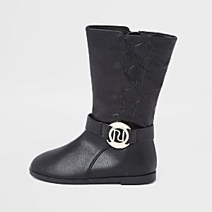 Schwarze, kniehohe Stiefel für kleine Mädchen