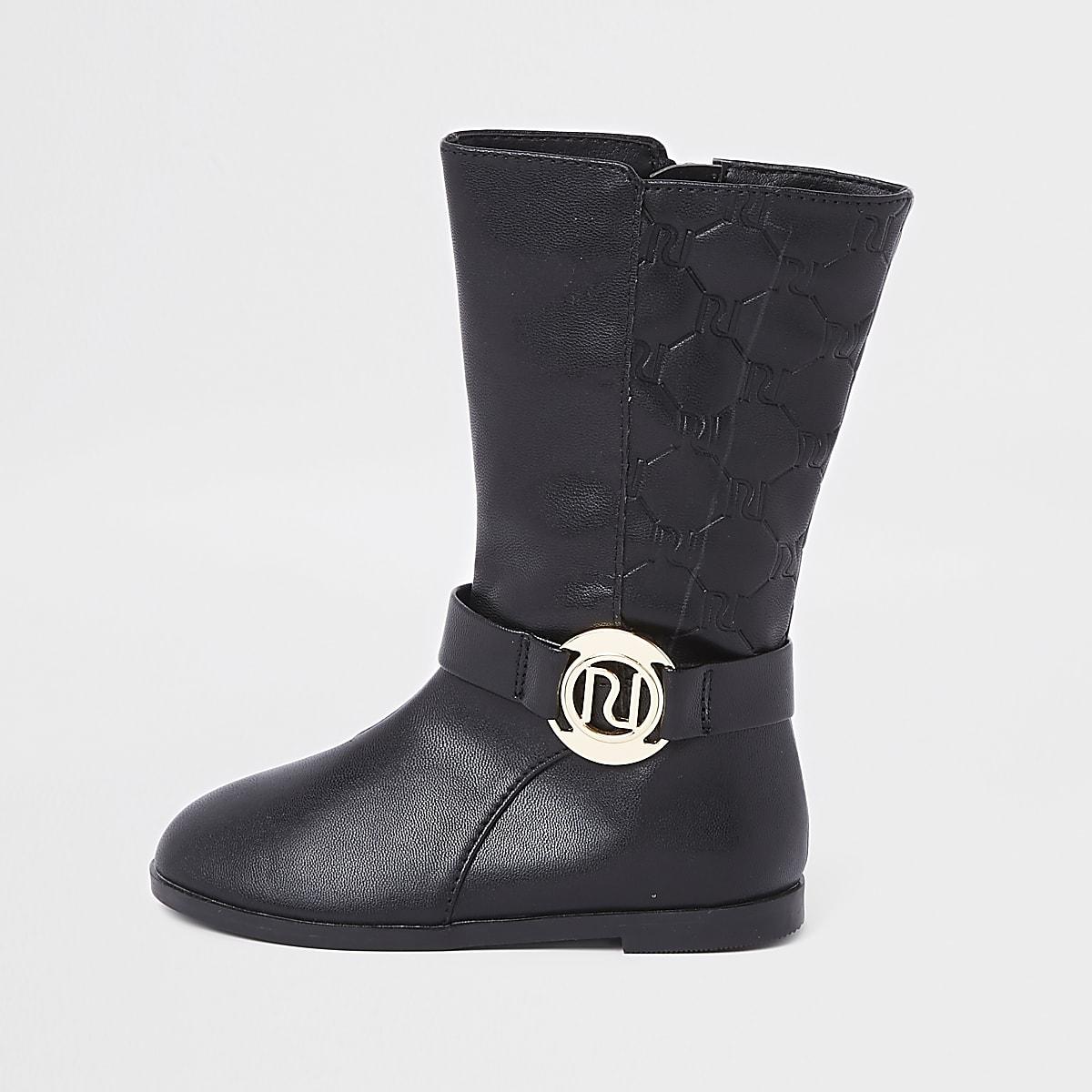 Mini - Zwarte kalfsleren laarzen met RI-monogram voor meisjes