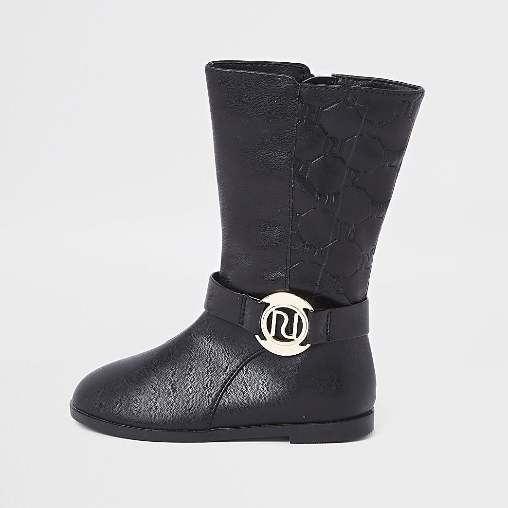 Mini girls black knee high boots
