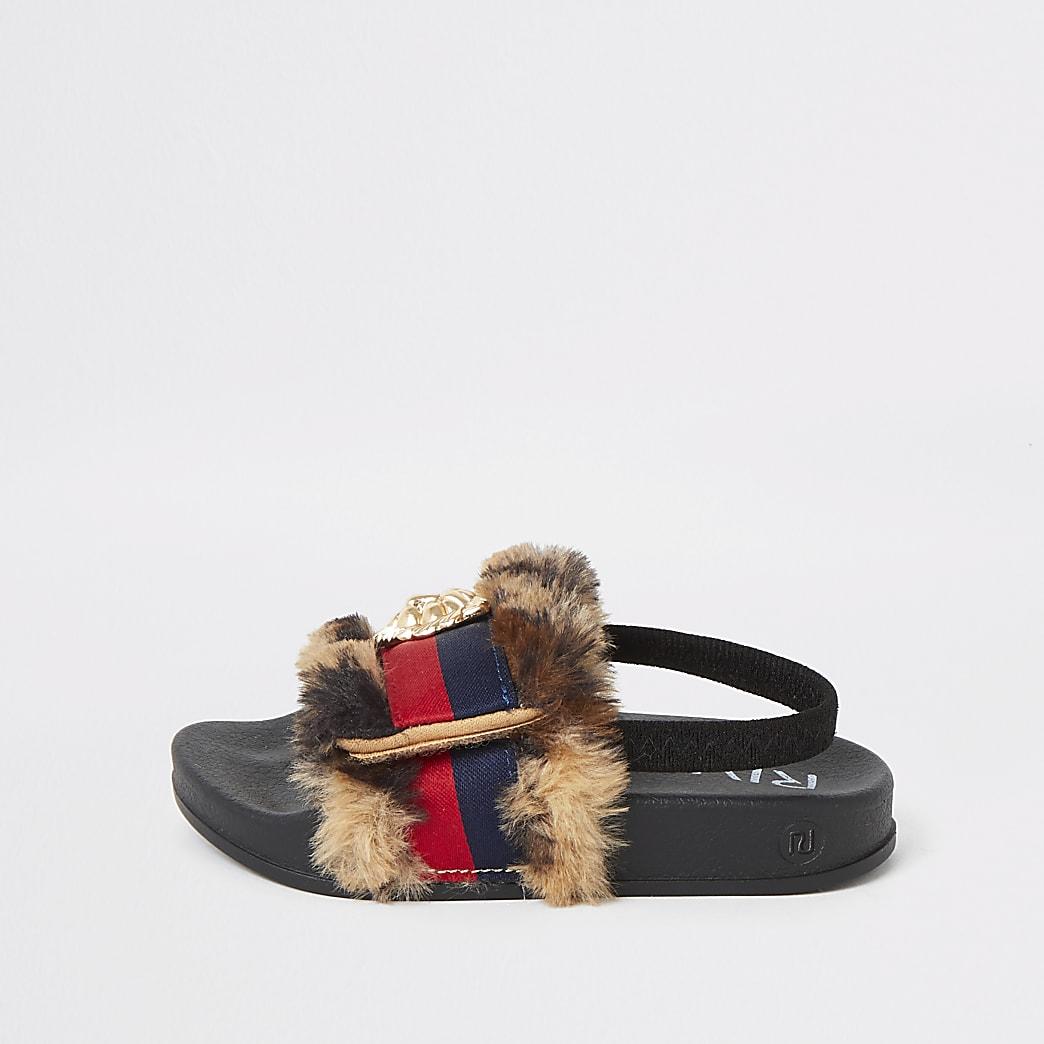 Mini - Bruine slippers met luipaardbont en strepen voor meisjes