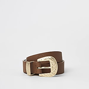 Girls brown western buckle belt