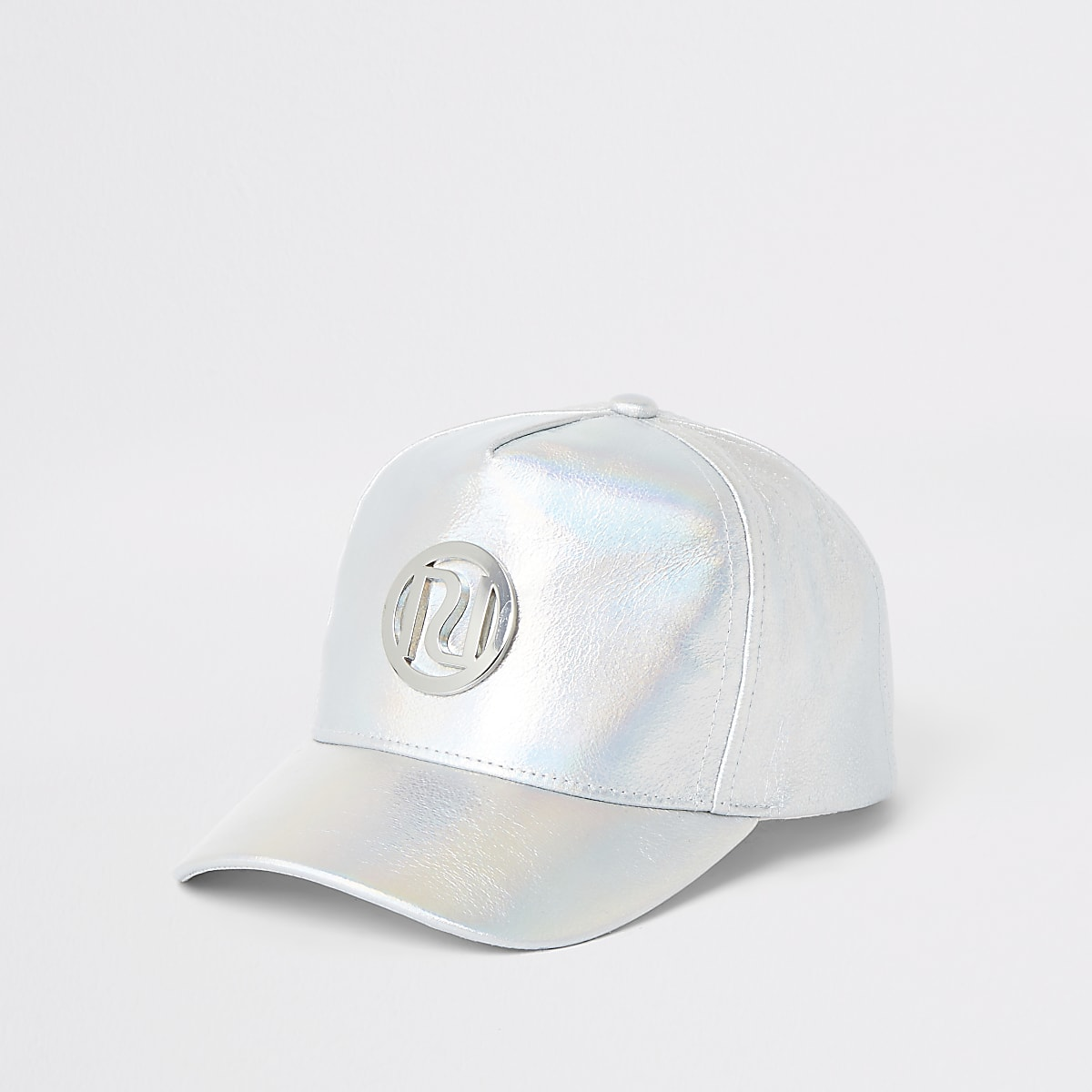 Girls silver holographic cap