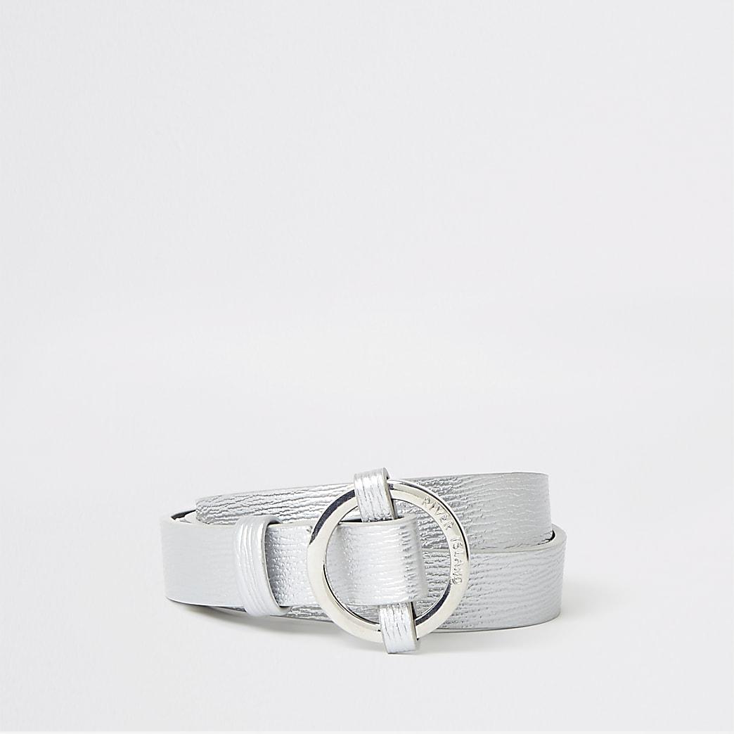 Girls silver circle buckle belt