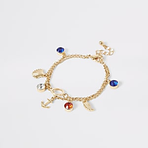 Girls gold tone anchor charm bracelet