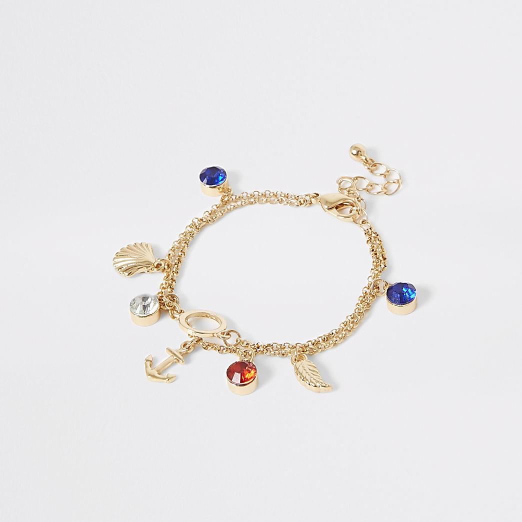 Goudkleurige armband met ankerbedel voor meisjes