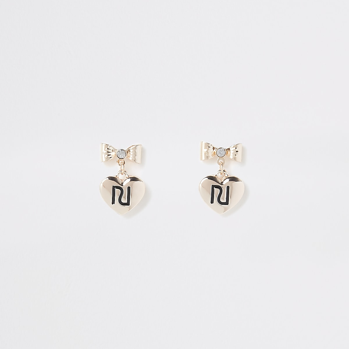 Girls gold colour RI bow stud earrings