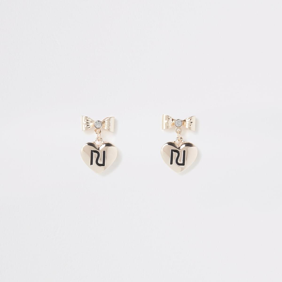 Girls gold colour RI bow stud earrings