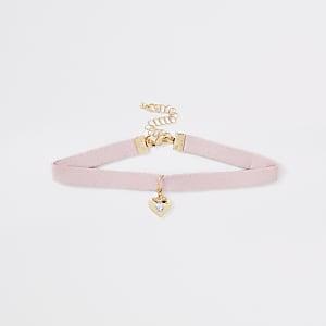 Collier ras-de-cou rose avec breloque cœur pour fille