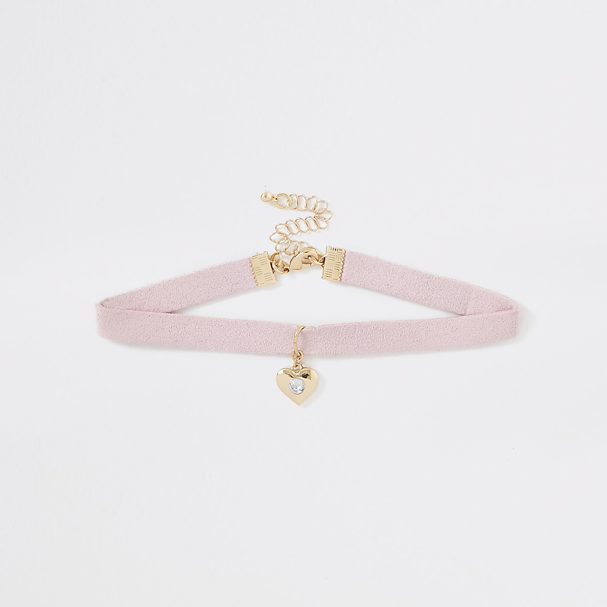 Girls pink heart charm choker