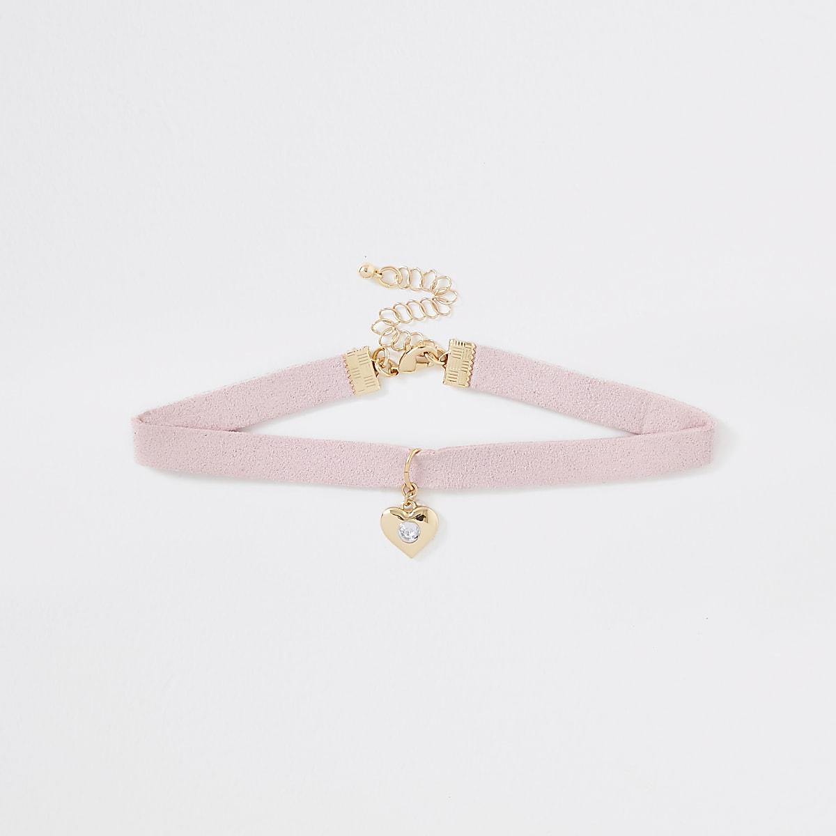 Girls pink heart charm choker