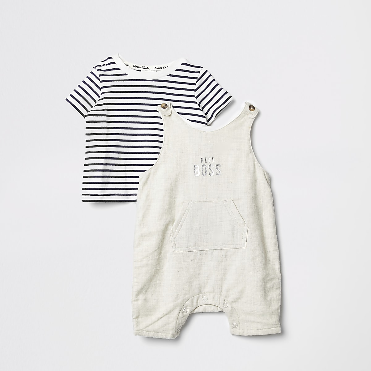 Baby cream dungarees outfit