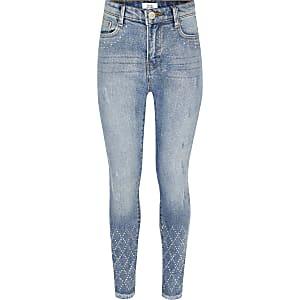Amelie – Jean skinny bleu orné de strass