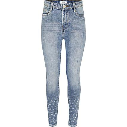 Girls blue Amelie skinny diamante jeans