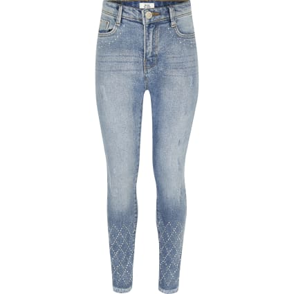 Girls blue Amelie skinny diamante jeans