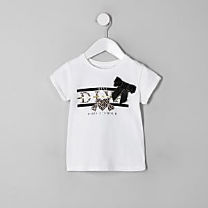 T-shirt blanc à inscription « Diva » avec nœud pour mini fille