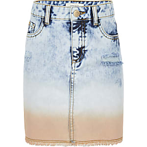 Girls blue tie dye denim skirt