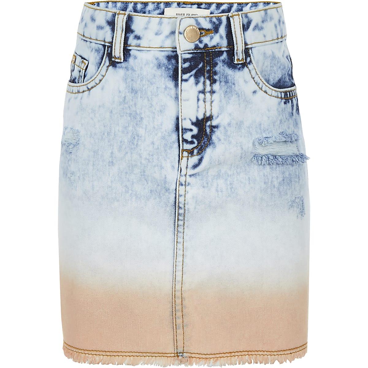 Girls blue tie dye denim skirt