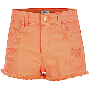 Girls neon orange Becca ripped shorts