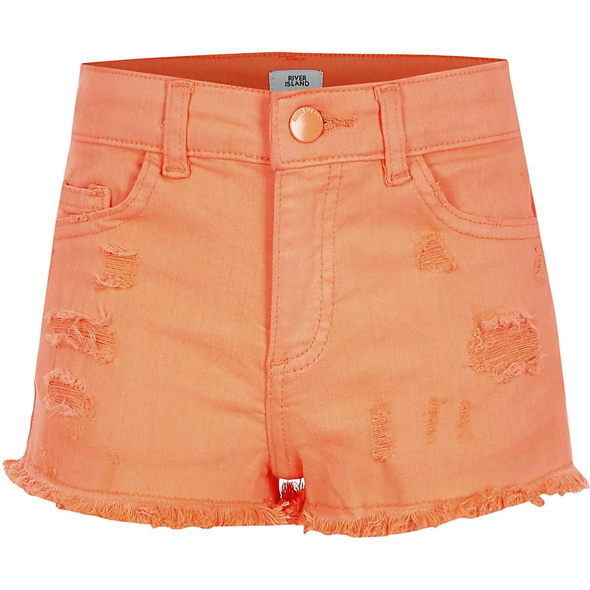 Girls neon orange Becca ripped shorts