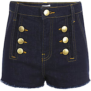 Girls dark blue button denim shorts
