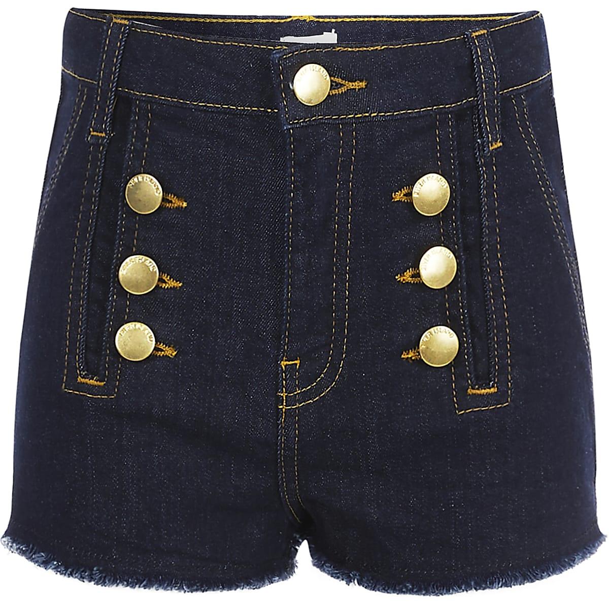 Girls dark blue button denim shorts