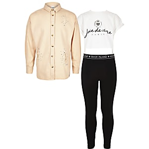 Girls pink shirt three piece outfit