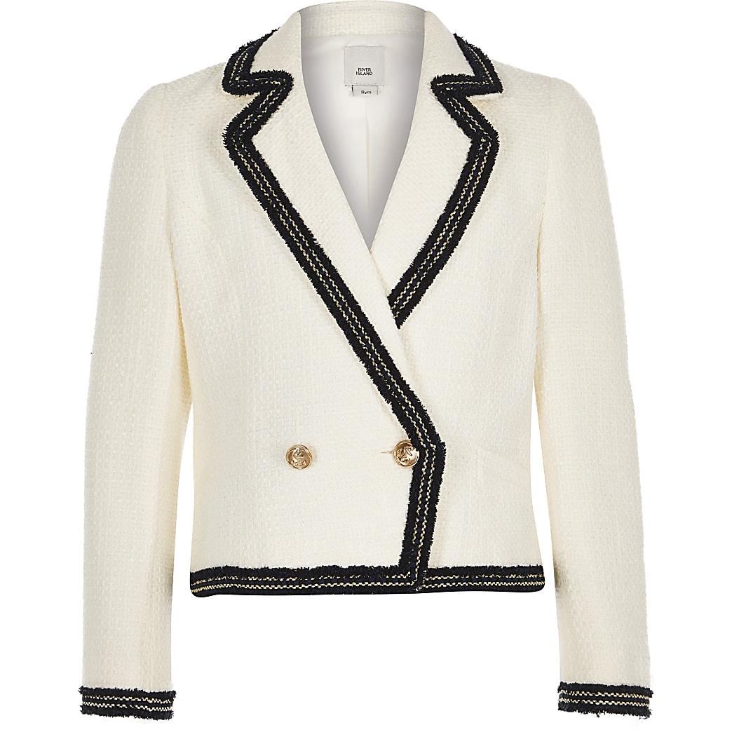 Girls cream double breasted blazer