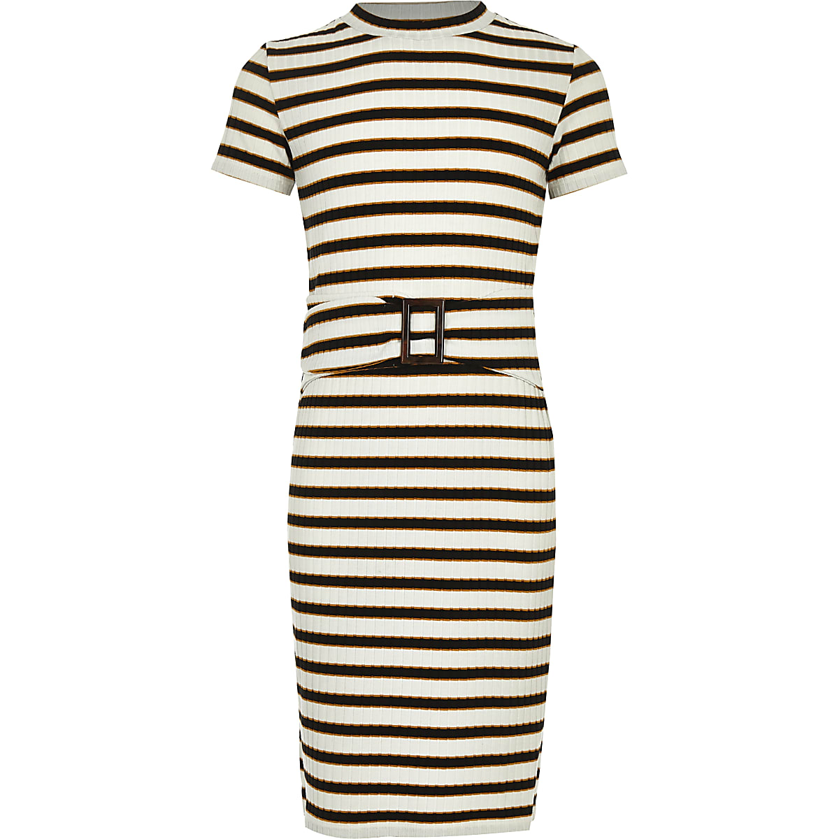 Girls white stripe ribbed dress