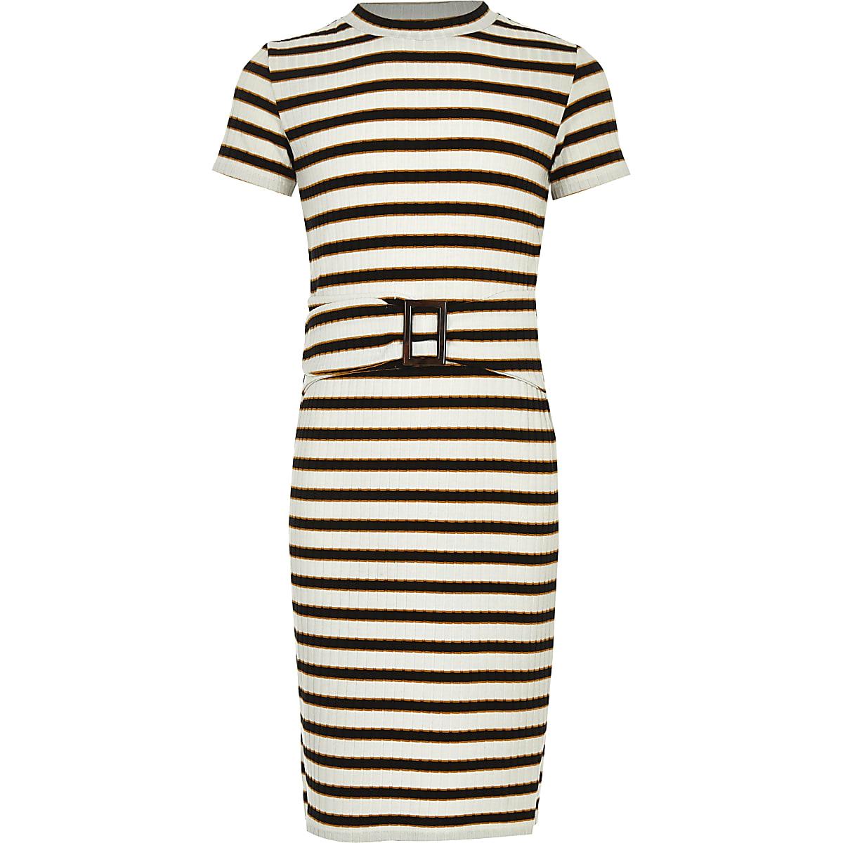 Girls white stripe ribbed dress