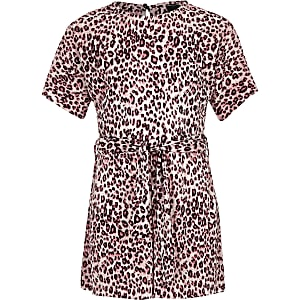 Girls pink leopard print plisse romper