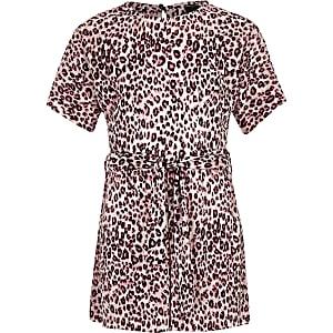 Roze plissé jumpsuit met luipaardprint voor meisjes