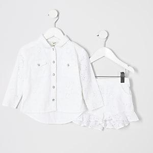 Ensemble avec veste chemise en broderie anglaise blanche pour mini fille