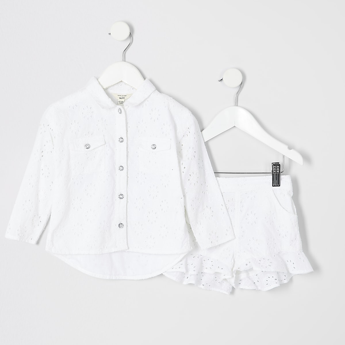 Mini girls white broderie shacket outfit