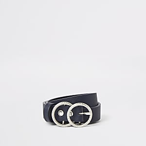 Girls navy textured double ring buckle belt