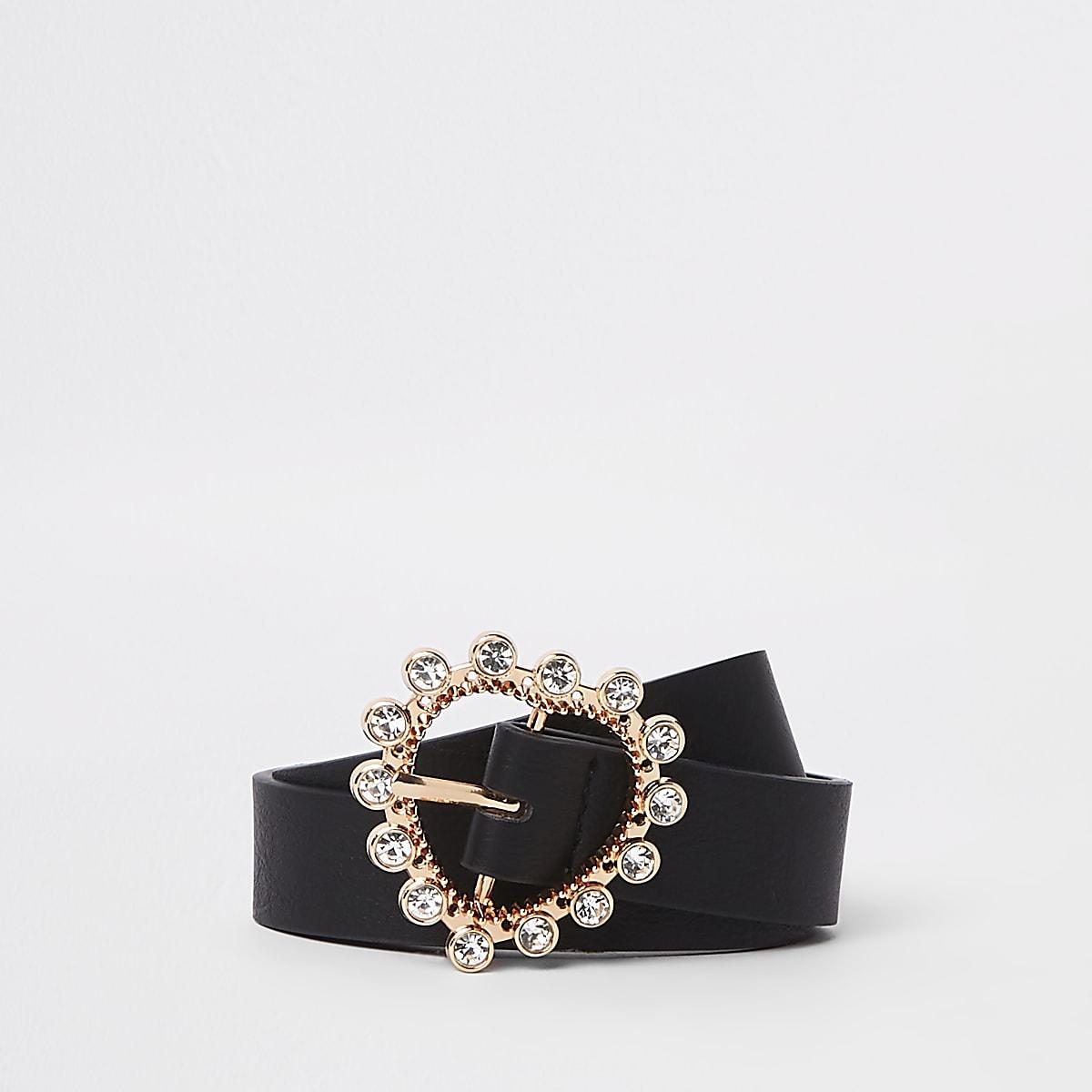 Zwarte riem met gesp, hart en diamantjes voor meisjes