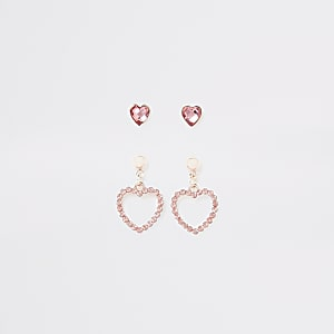 Girls pink heart diamante earrings multipack