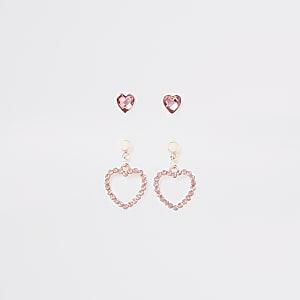 Multipack roze oorbellen met diamantjes voor meisjes