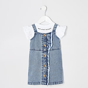 Mini girls blue denim pinafore outfit