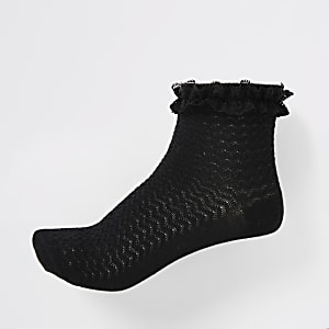 Girls black lace socks